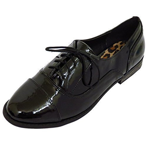 Ladies Girls Patent Flat Black Lace-Up Oxford Brogue Work School Shoes Sizes 3-8