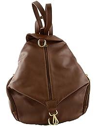 317ef9a4b Dream Leather Bags Made in Italy Piel Verdadera Mochila En Piel Verdadera  Para Mujer Color Marrón - Peleteria Echa…