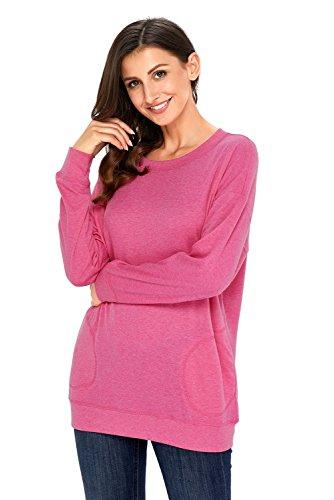 Dearlove, Damen-Sweatshirt, leger, langärmelig, für den Herbst, mit Tasche, weit geschnittenes Top, Größen: 34-50 Rose