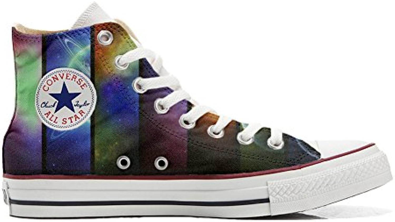 Converse All Star (Handwerk Hi Customized personalisierte Schuhe (Handwerk Star Schuhe) Space Saturno fac038