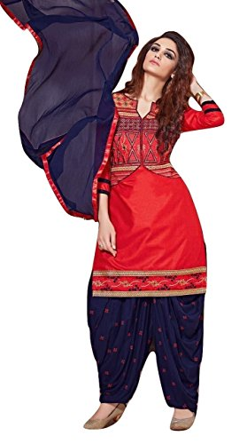 Shalibhadra red color top with blue color duppata and blue color salwar cotton unstitched fully heavy Embroidered work patiala suit pataliya dress material for women