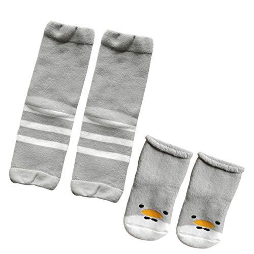 RUXIYI Baby stulpen und Jungen Mädchen Winter Socken,0-3 Jahre Beinstulpen Baby und Kleinkind Rutschfest Baumwolle Söckchen Cartoon Entlein Grau 1-3 Jahre