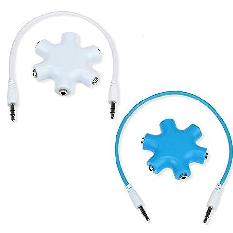 MITE neue Art und Weise 3.5mm Kopfhörer Kopfhörer Verlängerungs Audio Splitter Adapter 1 Stecker auf 2 3 4 5 Female Audio Kabel 2 Pack (Blue and White)