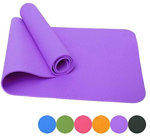 Good Times Yogamatte, Rutschfest, TPE, umweltfreundlich, hypoallergen, hautfreundlich, Gymnastikmatte, Fitnessmatte, Sportmatte, Bodenmatte mit Tasche & Trageband, 183x61x0,8cm (Lila)