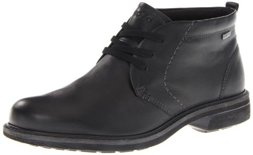 Ecco Turn Mid Cut Lace Hommes Cuir Botte Black