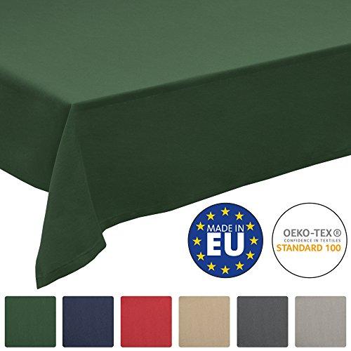 Loftflair - Rechteckig 130x160 cm Grün - Stoff Tischtuch aus Baumwolle - waschbar & pflegeleicht ()