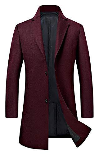 Herren Mantel Wintermäntel Lang Wolle Mäntel männer Winterjacke Trenchcoat einreihig 18635 Wine Rot XL Wolle Herren Mantel
