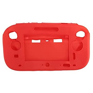 SODIAL(R) Silikon Schutz Huelle Tasche Case Etui fuer Nintendo Wii U Controller Pad Rot