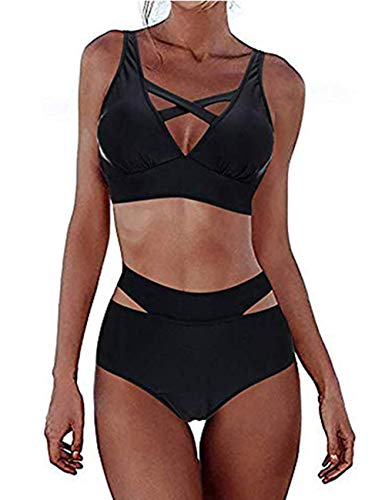 FeelinGirl Sexy gepolsterter Bikini-Badeanzug mit Kreuzmuster für Damen 40-42 Schwarz