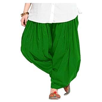 Fashion Guru Trading Women's Cotton Semi Patiala Salwar (Green, Free Size)