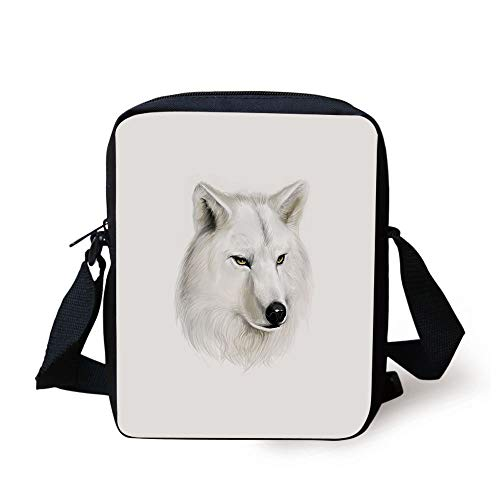 Wolf,White Canine Head with Great Detail Hunter Mammal Wildlife Nature Scene Art Decorative,Black Beige Yellow Print Kids Crossbody Messenger Bag Purse -
