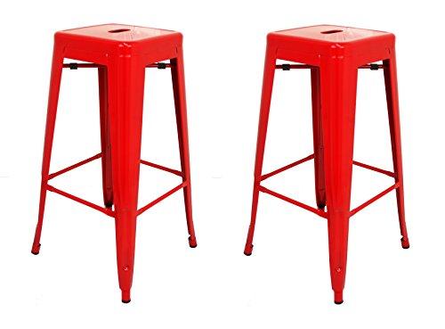 La Silla Española - Pack 2 Taburetes estilo Tolix. Color Rojo. 76x43x43