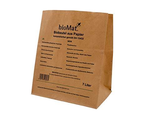 7 Lt. BIOMAT® Bioabfallbeutel aus Kraftpapier (3 x 40 Stk. Papiertüten)