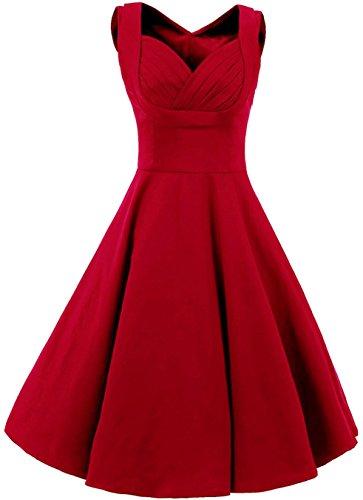 Vídeo de las mujeres Cut Out 50s 60s Vintage jardín de cóctel vestido de Swing rojo rosso 38