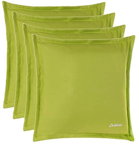 Brandsseller Outdoor Kissen Dekokissen - Schmutz- und Wasserabweisend mit Reißverschluss 2 cm Steg - 350 gr. Füllung - Größe: 48 x 48 cm - Farbe: Grasgrün - 4er Vorteilspack
