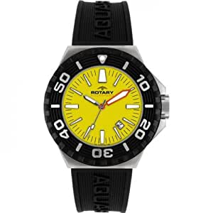 Rotary Aquaspeed Men's Quartz Watch with Yellow Dial Analogue Display and Black Rubber Strap AGS00055/W/27