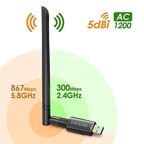 OxaOxe WLAN Stick, 1200Mbit/s mit 5dBi Antenna, Dualband (5G/867Mbps + 2.4G/300Mbps), USB 3.0 WLAN Adapter für Mac OS/Linux/Windows(kein Treiber erforderlich für Windows 10)