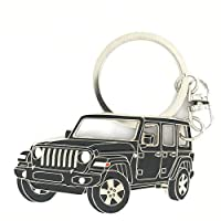 Wrangler Unlimited 4 Doors Key Chain for car Accessories. Chrome Metal tag, Enamel. Replica.
