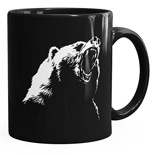 MoonWorks tierische Kaffee-Tasse Grizzly Bär Schwarz Unisize (Grizzly-bären)
