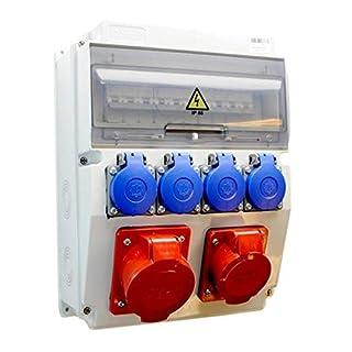AW-TOOLS Baustromverteiler/Wandverteiler 4 x 230V/16A Schuko + 1 x CEE 16A/400V + 1 x CEE 32A/400V verdrahtet + HAGER LS + FI