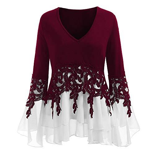 e Flowy Chiffon Sweatshirt V-Ausschnitt Langarm Bluse ()