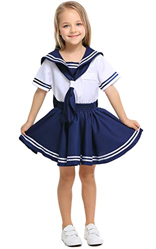 Mombebe Cosland Mädchen Matrosen Kleid Kostüm Karneval (Matrose, L)