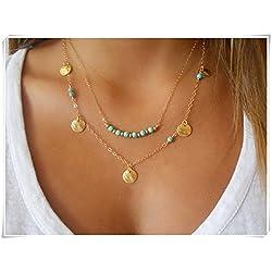 Collar Turquesa chapado en oro, con abalorios en forma de monedas, collar doble