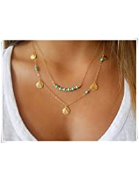 Turquesa collar; Layered Collar; Chapado en oro collar; Moneda collar