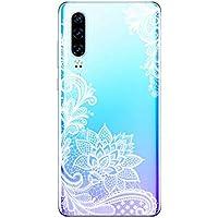 Suhctup Funda Compatible con Huawei View 10 Lite/Honor 8X,Carcasa Protectora de Silicona Transparente TPU Bumper con Floral Diseño,Ultra Fina Anti-Choques y Anti-Arañazos Resistente Case,Negra