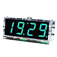 Idea Regalo - KKmoon 4 Cifre DIY(Do It Yourself) Kit Orologio LED Temperatura Data Ora Caso Trasparente