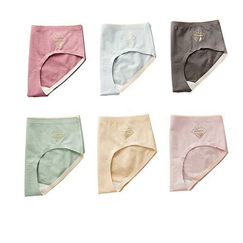 Braguitas para Mujer Calzoncillos de algodón Interior Encaje Bragas Hipster Algodón Suave Costura Calzoncillos completos sólido Estilo básico Transpirables Ropa 2/6pieces