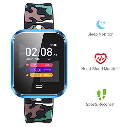 LayOPO Kinder Fitness-Armbanduhr, blaues Camouflage-TFT-Touchscreen, 3,3 Zoll, für Laufen/Radfahren, Sport, Smart-Tracker, wasserdicht, Gesundheits-Tracker, kompatibel mit iPhone und Android (blau)