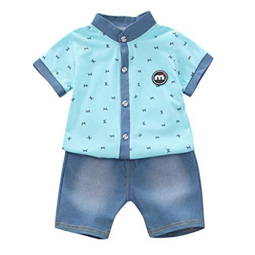 JERFER Kinderkleidung Set Kleinkind-hübsches T-Shirt Tops + Denim-Kurzschluss-Hosen 2pcs kleidet Satz