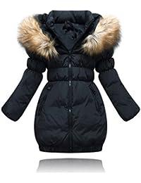 Ghope la taille 110cm -160cm Filles Parka Doudoune Blouson manteau hiver trench chaud veste dehors ceinture Blouson a capuches épaissie outwear