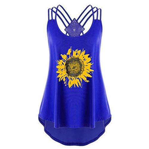 OverDose Damen Bandagen ärmellose Weste High Low Tank Top Bluse T Shirt Hinweise Strappy Tops (S, Z-x-blau)