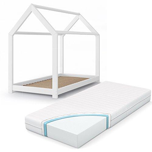 VICCO Kinderbett Inklusive Matratze Kaltschaummatratze Kinderhaus Kinder Bett  Holz Haus Schlafen Spielbett Hausbett Mit Matratze 90x200cm 70x140cm ...