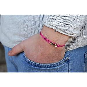 Dezentes Armband für Herren – edles Wickelarmband für Männer Minimalistisch – stufenlos verstellbar mit Karabiner-Haken Gold (pink)