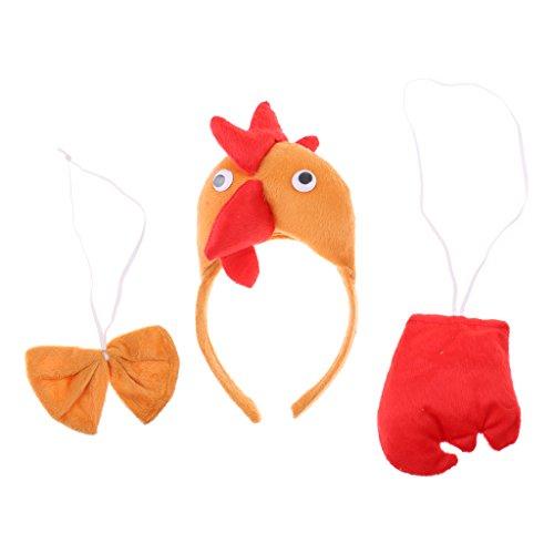 kostüm 3tlg. Stirnband Fliege Schwanz Hahn Kostüm Set Karnevalskostüme Tiere Cosplay Kostüm (Tier Kostüm-köpfe)