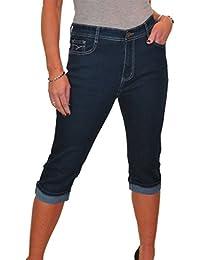 ICE (1546-1) Pantacourt Extensible en Jeans à Revers Bleu Indigo taille 42 à 52