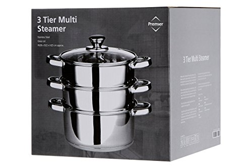 Premier Housewares Stainless Steel Steamer with Glass Lid, 22 cm Img 4 Zoom