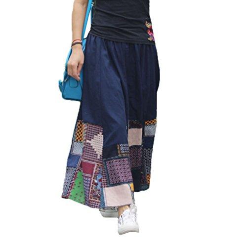 Niseng donna lunga gonna stampato a vita alta retro maxi gonna elegante azzurro 2 90cm