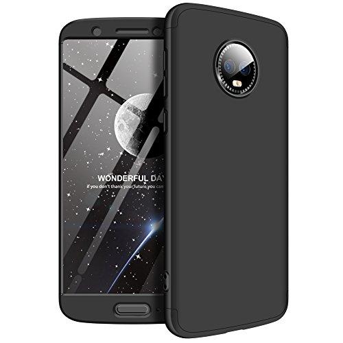 Motorola G6 Plus Hülle 3 in 1 HandyHülle Ultra Dünn Hartschale 360 Grad Schutz Stoßdämpfend Schutzhülle Anti-Fingerabdruck Handyhülle Glatte Hybrid Etui Bumper Hülle Cover (Cooles Schwarz) -
