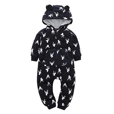 Automne Hiver Vêtements pour bébé, Moonuy Hiver automne Noël vêtements bébé garçon fille chaud plus épais cerfs à capuchon coton barboteuse zippée salopette tenue vêtements à domicile
