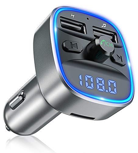 Bovon Bluetooth FM Transmitter Auto Radio Adapter, Auto Ladegerät mit 2 USB Anschlüsse und Freisprecheinrichtung, [mit Blauem Umgebungslicht], Unterstützt TF Karte & USB-Stick (Grau) Auto Fm Transmitter