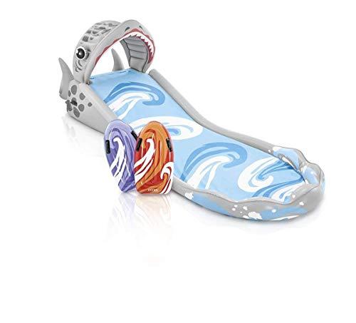 Intex Wasserrutsche Wasserrutschbahn Wasserbahn ausblasbar 406 x 168 x 163 cm mit 2 Wellenreitern (Gute Haloween Kostüm)