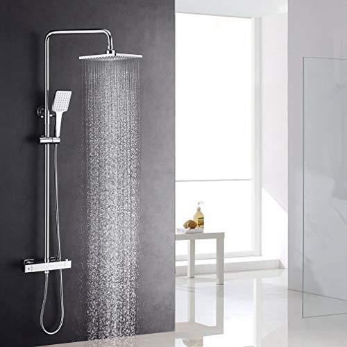 Lonheo Eckige Dusche Duschset, Thermostat Duschsystem mit Regendusche 19x26 cm Chrom, Duschsäule mit Top Spray, Handbrause, Duschkopf verstellbar Höhe