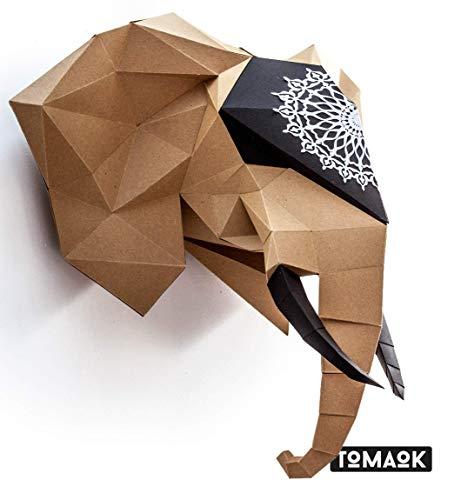 MODERN 3D PUZZLE Afrikanischer Elefant Kit Papierskulptur umweltfreundliches Kraftpapier 100% recycelt zum Zusammenbauen für die Dekoration DIY PAPERCRAFT Low Poly Montage Papier Skulptur - TOMAOK