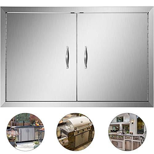 HuSuper 91x53cm Double Küche Kamintür BBQ Access Tür Edelstahl Putztür Outdoor Kitchen Door Walled Door für Außenküchen und Grillinsel