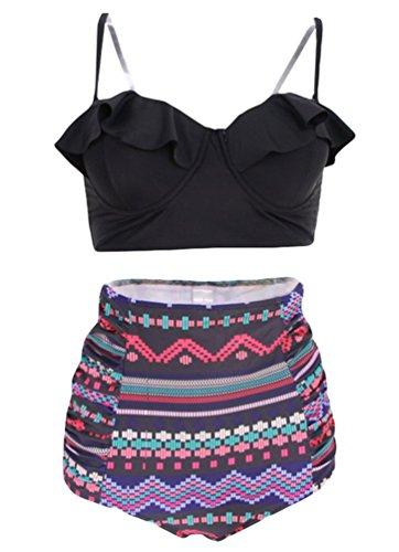 NiSeng Donna Bikini Costume Da Bagno Con Vita Alta Retro Stampa Due Pezzi Bikini Swimsuit Stile 4#