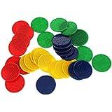 32pcs / Caja Juguetes Juegos Casino Fichas con Flores Póquer Mahjong Color Verde Azul Amarillo Rojo